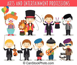 Vector Set of Arts and Entertainment Professions in cartoon...