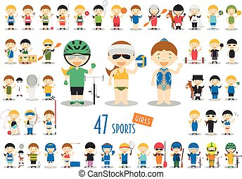 Big Set of 47 cute cartoon sport characters for kids. Funny...