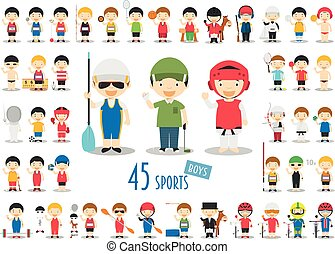 Big Set of 45 cute cartoon sport characters for kids. Funny...