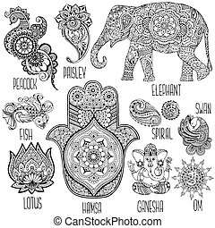 set of symbols used in mihendi - Lotus, hamsa, elephant,...