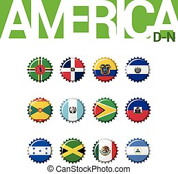 Set of 12 bottle cap flags of America (D-N). Set 2 of 3. Vector Illustration.