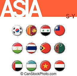 Set of 12 bottle cap flags of Asia (S-Y). Set 4 of 4. Vector Illustration.