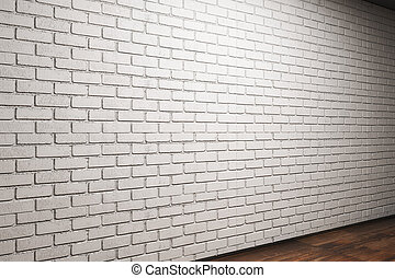 Room with empty brick wall side