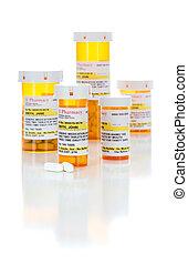 Non-Proprietary Medicine Prescription Bottles and Pills...