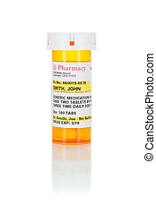 One Non-Proprietary Medicine Prescription Bottle Isolated on...