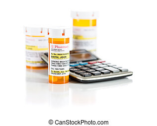 Calculator and Non-Proprietary Medicine Prescription Bottles...