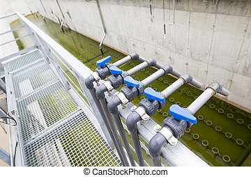Water treatment plant piping system. Modern urban wastewater...