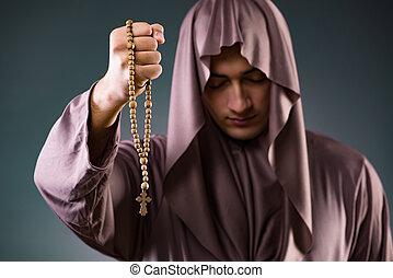 gris, concepto, religioso, monje, Plano de fondo