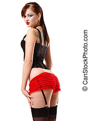 Pinup girl - Pretty girl in corset, sexy red panties and...