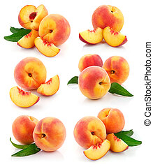 set fresh peach fruits with green leaves