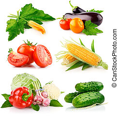 新鮮, 蔬菜, 集合, 綠色, 離開