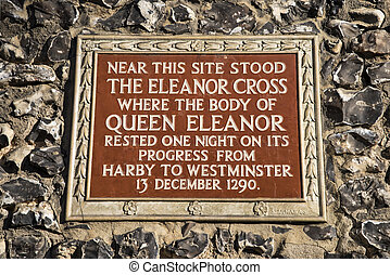 The Eleanor Cross Plaque in St. Albans - A plaque on St....