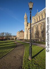 St. Albans Cathedral - A pathway in Verulamium Park running...