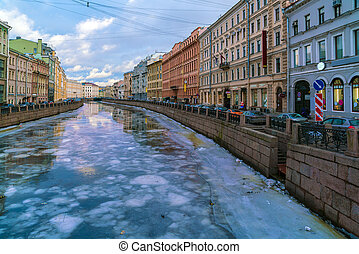 Griboyedov Canal at winter, Saint Petersburg, Russia -...