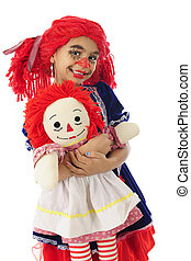 """Mama Rag Doll with Her Baby - An adorable little girl """"rag..."""