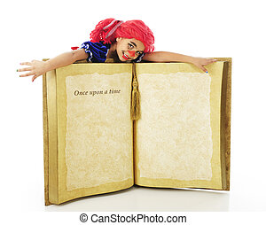 """Living Rag Doll on a Book - A young elementary """"rag doll""""..."""