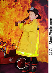 "Young Hatchet Weilding Fireman - A young ""fire fighter""..."
