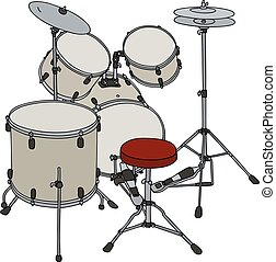 Cream percussion set - Hand drawing of a beige percussion...