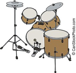 Golden percussion set - Hand drawing of a big golden...