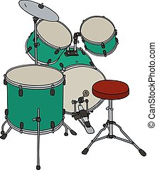 Green percussion set - Hand drawing of a green percussion...