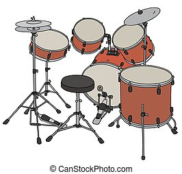 Red percussion set - Hand drawing of a big red percussion...