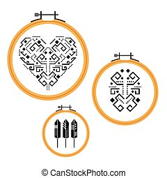 Needlework design on embroidery hoops.