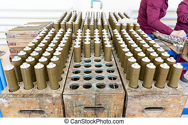 RPG explosives in munition factory - RPG explosive elements...