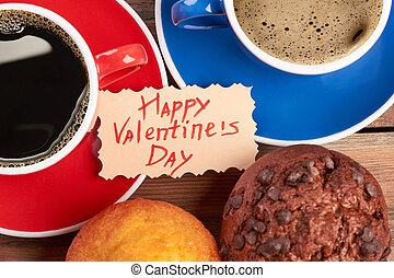 Valentine's Day card and coffee.