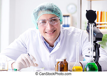 Pharmaceutical industry concept with scientist in the lab