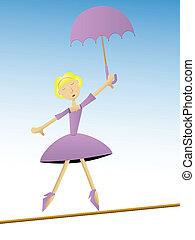 Woman in purple dress holding umbre - Blonde woman in fancy...