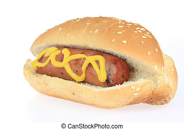 Hot Dog - A photo of a hot dog set against a white...