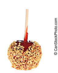 Candied Apple - A photo of a candied apple on a stick set...