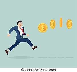 Businessman chasing coins video game style
