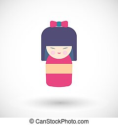 Kokeshi doll vector icon - Kokeshi doll icon. Flat design of...