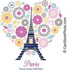 Vector Eifel Tower Paris Bursting With St Valentines Day Pink Red Golden Hearts Of Love. Perfect for travel themed postcards, greeting cards, wedding invitations.