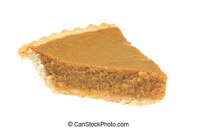 Slice of Pumpkin Pie - A photo of a slice of pumpkin pie set...
