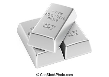 Set of silver bars, 3D rendering isolated on white...
