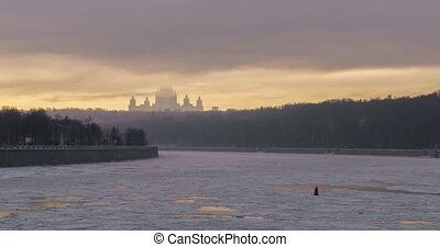 Frozen Moscow river embankment time-lapse