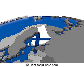 Finland on 3D globe - Map of Finland with embedded flag on...