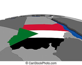 Sudan on 3D globe - Map of Sudan with embedded flag on...