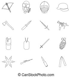 Weapon set icons in outline style. Big collection weapon vector symbol stock illustration