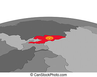 Kyrgyzstan on 3D globe - Map of Kyrgyzstan with embedded...