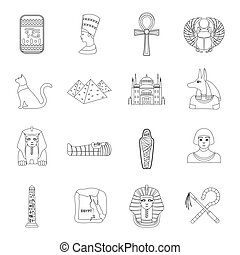 Ancient Egypt set icons in outline style. Big collection of...