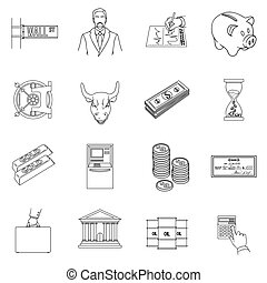 Money and finance set icons in outline style. Big collection of money and finance vector symbol stock illustration
