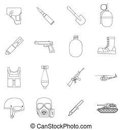 Military and army set icons in outline style. Big collection...