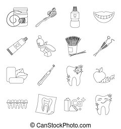 Dental care set icons in outline style. Big collection of dental care vector symbol stock illustration