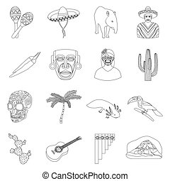 Mexico country set icons in outline style. Big collection of...