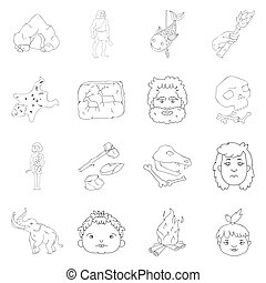 Stone age set icons in outline style. Big collection of...