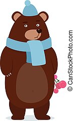 cartoon teddy bear wearing a scarf gives  gift - happy merry christmas design, new year, vector illustration eps10 graphic