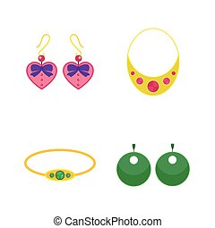 Set of cartoon jewelry accessories.